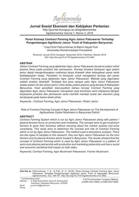 peran konsep contract farming agro jamur pabuwaran
