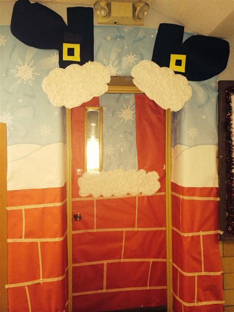 how to decorate doors and chimeny for christmas santa sneaking the chimney door decoration for classroom door decor