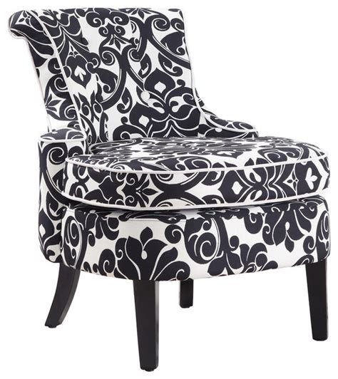 powell diana arm accent chair  black  white floral chenille fabric traditional