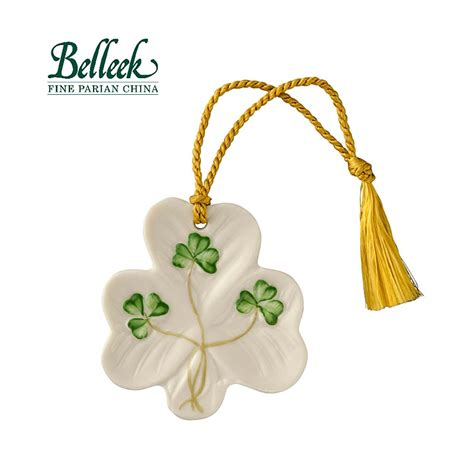 irish christmas belleek shamrock shaped ornament at