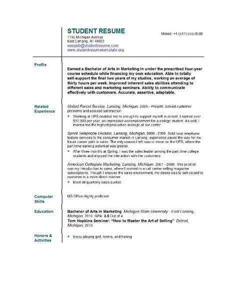 resume template college student resume template college student