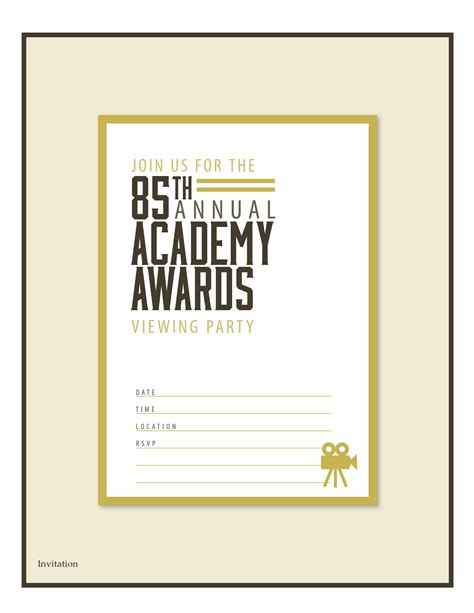 printable invitations with photo free oscar party printables from partychic catch my party