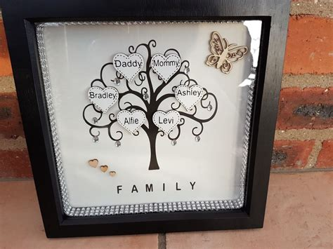 Handmade Family - personalised family tree gift photo box frames handmade