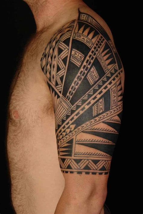 nice sleeve tattoos draw a tribal design a polynesian half