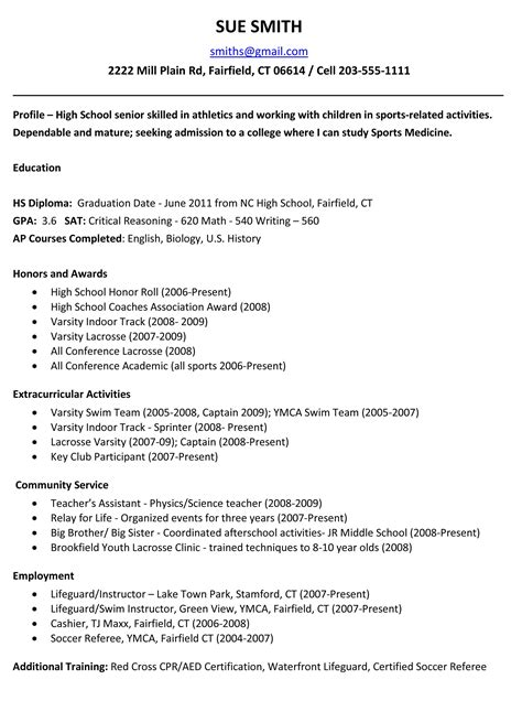 exle resume for high school students for college applications school resume