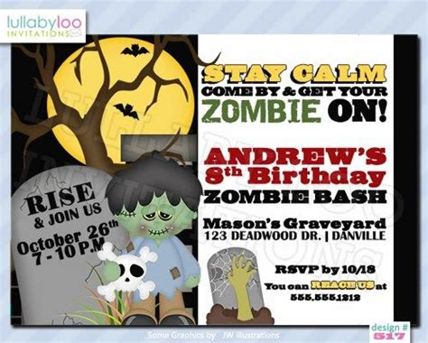 printable zombie birthday invitations zombie party invitations 517 lullabyloo cards on