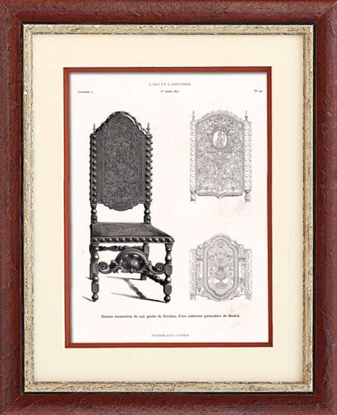 Miroir Fenetre 1877 by Gravures Anciennes Chaise Recouverte De Cuir De Cordoue