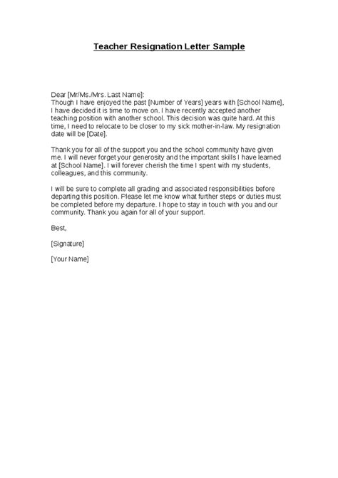 Resignation Letter For Leaving Teaching Letter Of Resignation Template Resignation Letter Sle