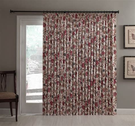 Thermal Patio Door Drapes Cornwall Insulated Pinch Pleated Patio Door Drape Single Panel Jacobean Multi Color Floral Drape