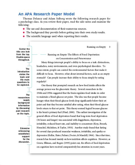 Apa Style Research Paper Exle by Research Paper Apa
