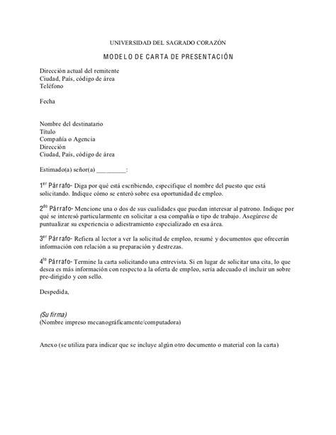 Modelo De Carta De Presentaci N De Un Curriculum modelo de carta de presentaci 243 n en espa 241 ol 1