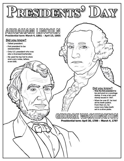 printable coloring pages us presidents free printable president s day coloring pages