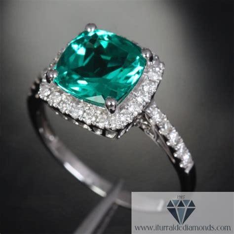 cushion cut emerald pave halo engagement ring