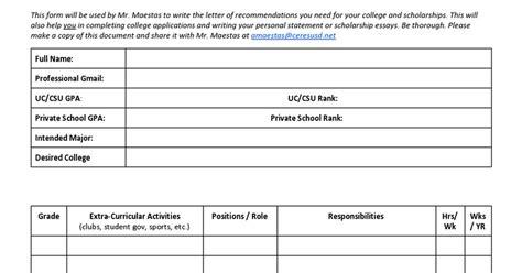 letter recommendation brag sheet template google docs