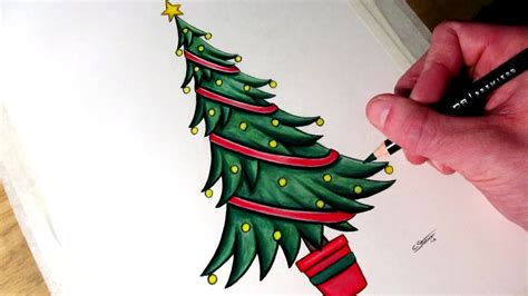 draw realistic christmas trees how to draw a tree