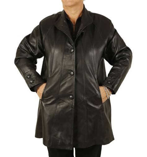 leather swing jacket plus size 22 24 3 4 length black leather swing coat from