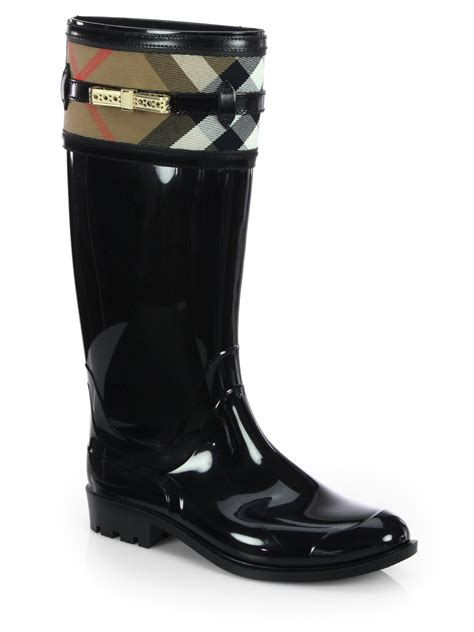 burberry boots burberry aberfield check boots in black lyst