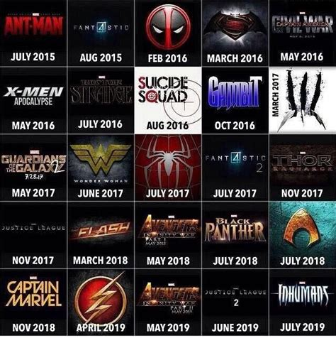 film line up geek out simple timeline outlines upcoming marvel dc