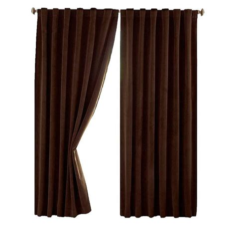 shop curtains by length absolute zero total blackout chocolate brown faux velvet