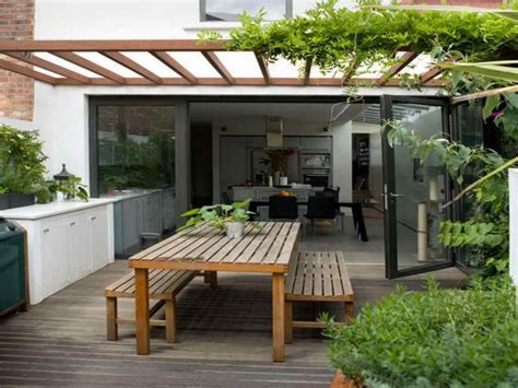 Exterior Wooden Pergola With Climbing Plant In Modern Cool Pergola Ideas