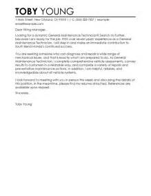 Specific Cover Letter by Clgeneral Maintenance Technician Automotive General Cover Letter No Specific By Toby