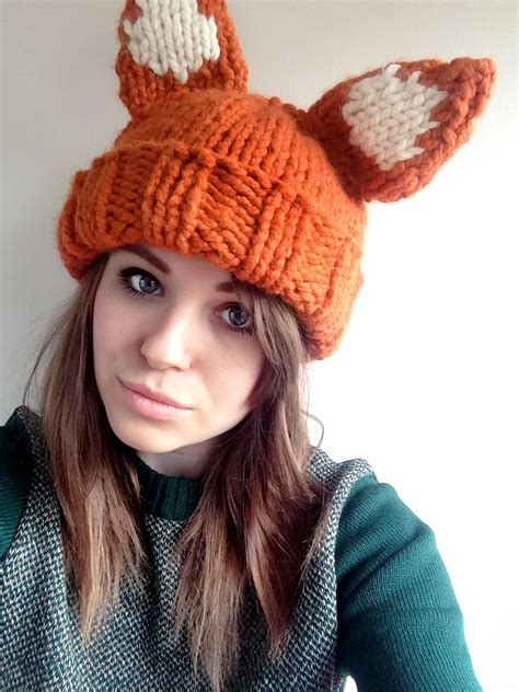 knitted fox hat chunky foxy hat pattern sincerely louise