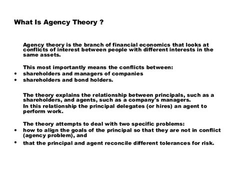 the agency agency theory