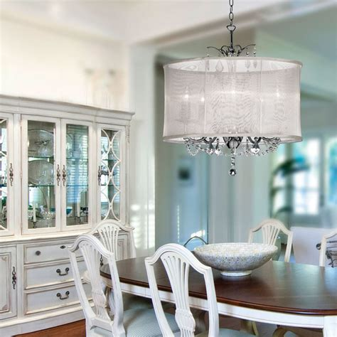 Chandeliers Dining Room Organza Silk Drum Shade Chandelier Traditional Dining Room New York By Lighting