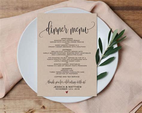 Dinner Menu Wedding Menu Printable Wedding Menu Wedding Menu Pdf Dinner Menu Pdf Wedding Wedding Table Menu Template