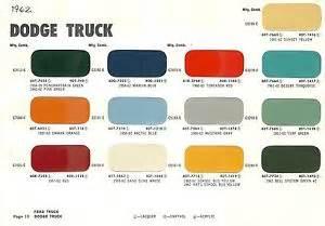 dodge paint colors 1962 dodge truck color chip paint sle brochure chart