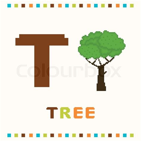 t is for tree a letter of the week preschool craft alphabet for children letter t and a tree isolated