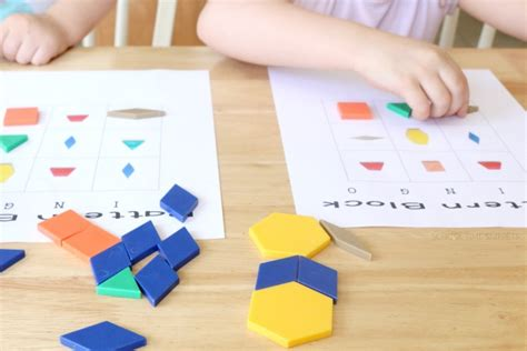 pattern play games pattern blocks bingo printable game for kids school