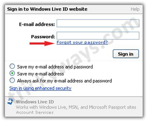 windows live reset password secret question recover hotmail password recover hotmail account password