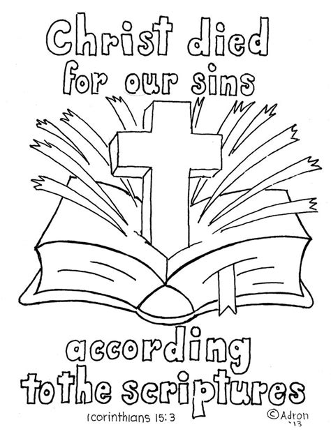free bible coloring pages easter 1 corinthians 15 3 4 bible verse print and color page 1