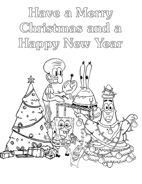 Spongebob And Friends Merry Christmas Coloring Page H Spongebob Merry Coloring Pages