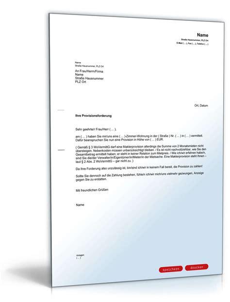 Musterbrief Kündigung Mietvertrag Vermieter Verweigerung Zahlung Maklerprovision Muster Zum