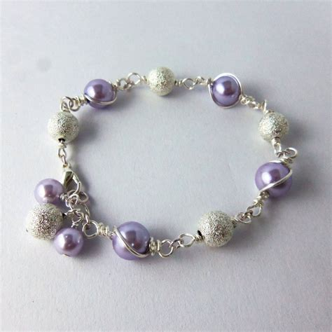 wire and bead jewelry purple pearl and stardust bead wire link bracelet by