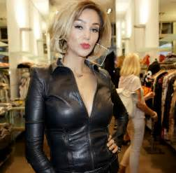 Celebrities in leather verona pooth wears a tight black leather