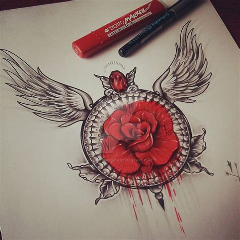 rose tattoo with wings wings by edwardmiller on deviantart