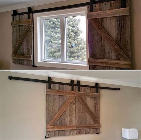 Barn Doors With Windows Ideas Two Reclaimed Wood Barn Door Shutters For Windows