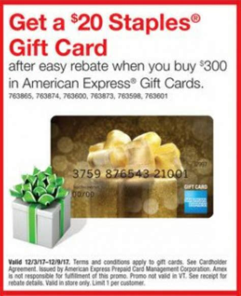 Amex Gift Card Deals - new gift card deal at staples 20 staples gc rebate on amex gift cards miles to