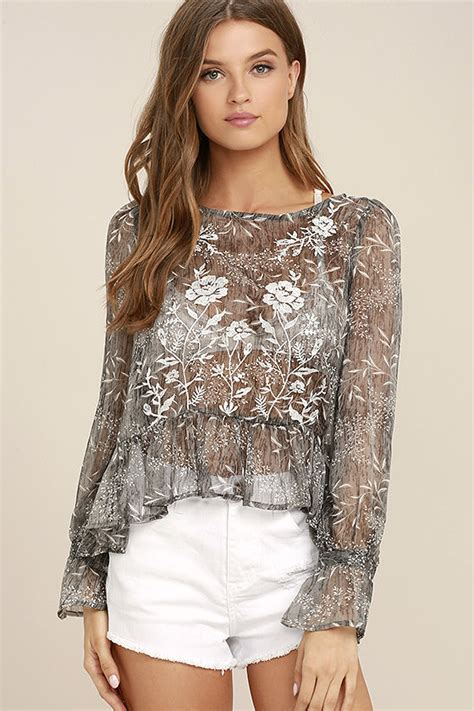 Cmic Wasaka Blouse Jumbo Grey Lovely Grey Floral Print Top Embroidered Top