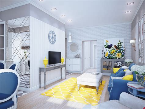 Blue And Yellow Decor | blue gray and yellow living room decor pics and home decorating long hairstyles