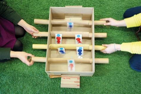 How To Make A Table Football by Makedo Cardboard Foosball Table 7 Steps With Pictures