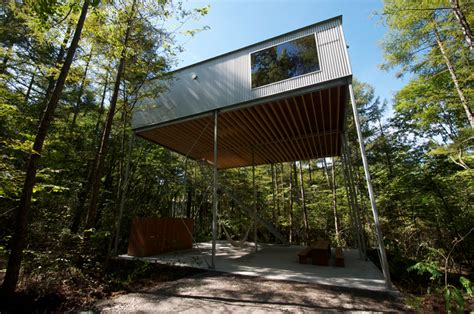 Weekend Cabin Plans by Go Hasegawa Pilotis In A Forest