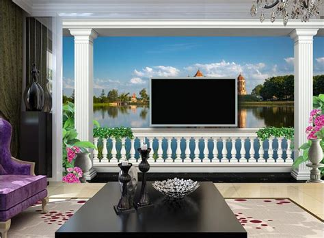 custom photo mural  wallpaper balcony lake castle