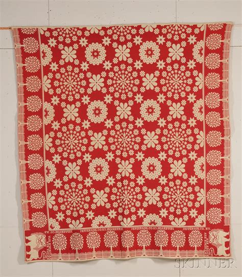 wool coverlet red and white woven wool and cotton coverlet bidsquare