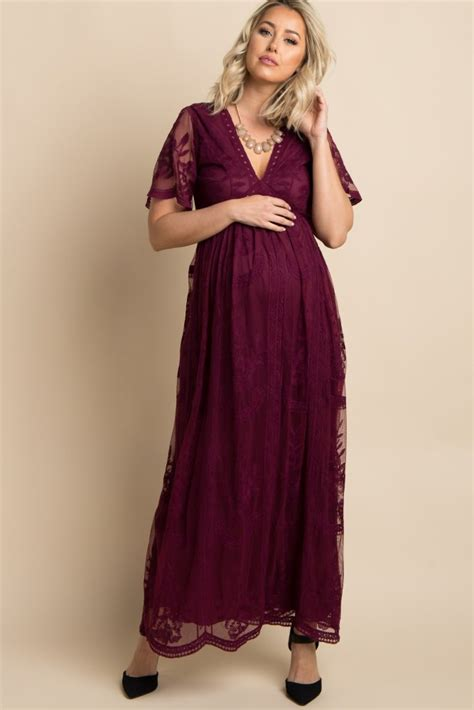 Maxi Shiren Set Maroon 3in1 burgundy lace mesh overlay maternity maxi dress