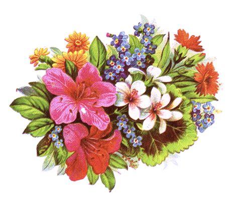 public domain vintage clipart of floral bouquet and leaves