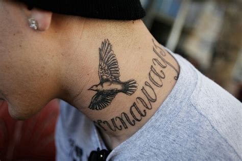 small neck tattoos for men 45 bird tattoos for and inspirationseek